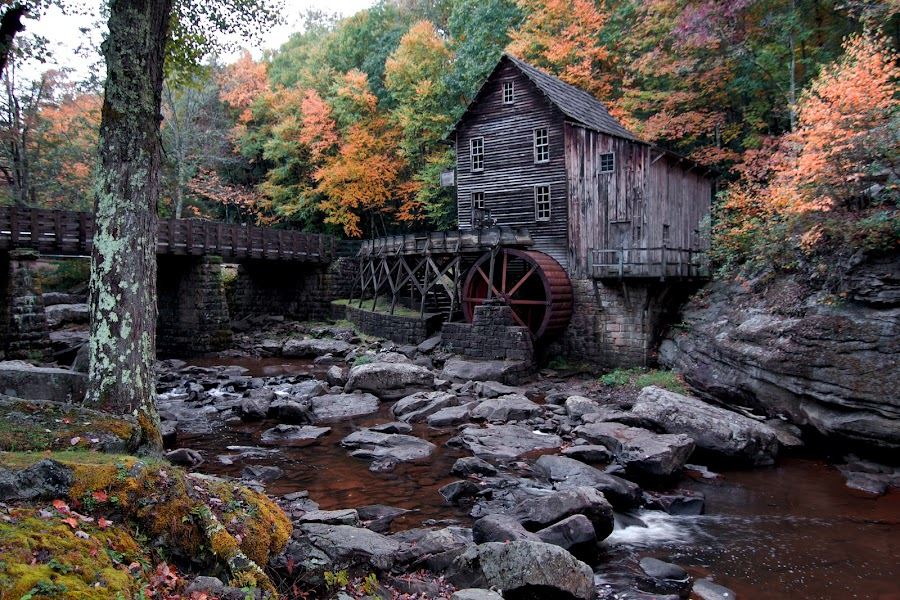 Grist Mill 1 by Matt Bryant - Buildings & Architecture Public & Historical ( water, autumn, west virginia, grist mill, babcock state park )