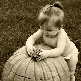 What's this? by Samantha Anderson - Babies & Children Children Candids ( sepia, pumpkins, photography, halloween )