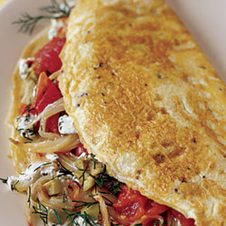 Mediterranean Supper Omelet with Fennel, Olives, and Dill