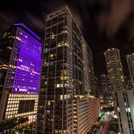 Miami at Night by Michael Moriarty - Buildings & Architecture Office Buildings & Hotels ( lights, brickell ave, skyline, purple, miami beach, florida, miami, buildings, night, architecture, evening, city )