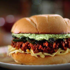 Sloppy Jose with Chorizo, Charred Poblanos and Avocado Crema