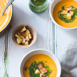 Roasted Yellow Tomato Soup with Halloumi Croutons + Green Harissa