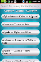 Screenshot of Country Capital Currency