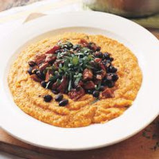 Pumpkin Polenta with Chorizo and Black Beans
