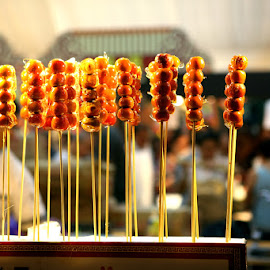 Food is a favorite at Singapore River Hongbao fair 2014 by Leong Jeam Wong - Food & Drink Meats & Cheeses ( stick, meat, sweet. dessert, fair,  )