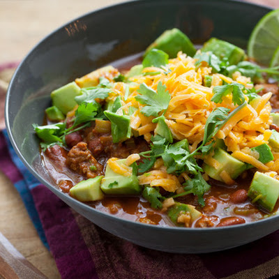 Turkey Chili with Avocado & Cheddar