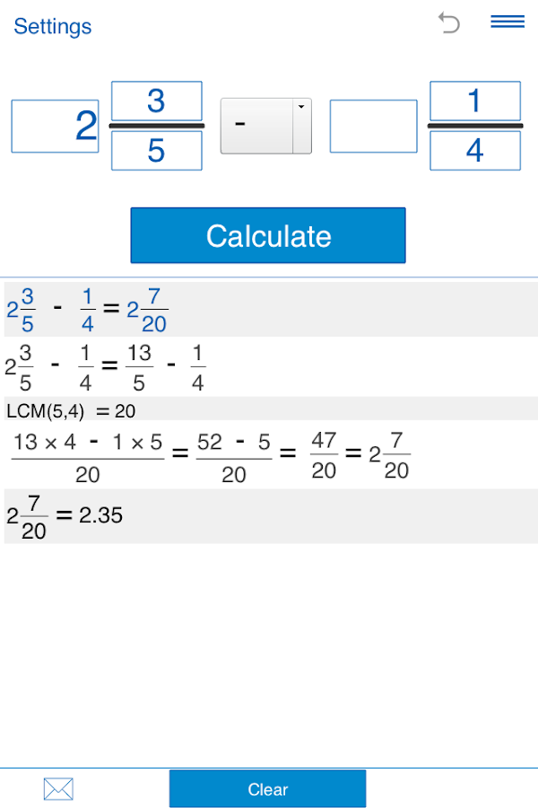 Fraction calculator Screenshot 0