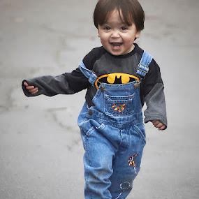 Running by Lynda Blair - Babies & Children Children Candids ( happy, batman, boy, running, smiling )