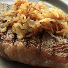 New York Strip Steak with Caramelized Shallots