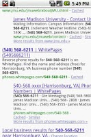 Screenshot of Unfamiliar Number Googler BETA