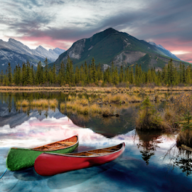 Dusk at Vermilion Lakes by Alan Crosthwaite - Landscapes Travel ( alberta, canada, lakes, reflections, canoe, tourism, lake, travel, landscape, banff, canoes, destination, adventure, outdoors, banff national park, mount rundle, vermilion lakes, cannoeing backgrounds )