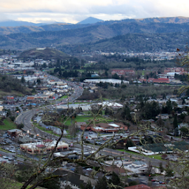 Roseburg, Oregon View by Mina Thompson - City,  Street & Park  Vistas ( oregon, roseburg, vista, view, panorama, city )