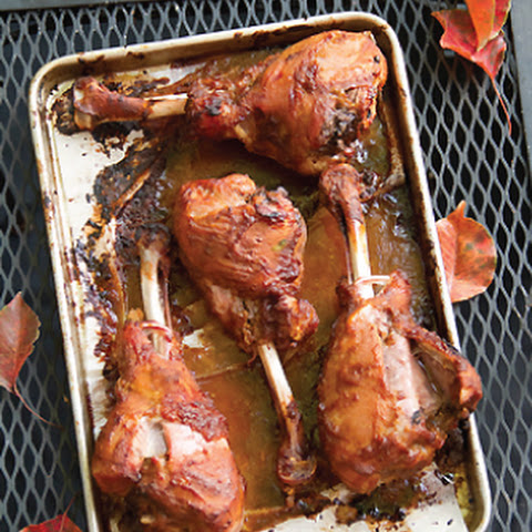 Bourbon Brined Pumpkin Molasses Glazed Turkey Drumsticks
