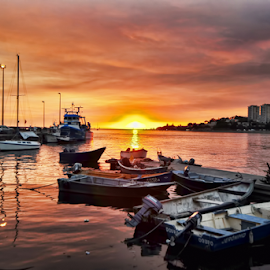 Boats at sunset by Antonio Amen - Transportation Boats