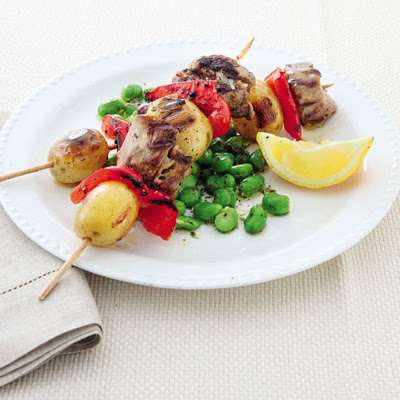 Lamb & Potato Kebabs With Minty Broad Beans