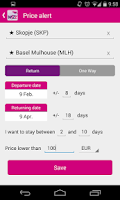 Screenshot of WizzAir Search and Price Alert