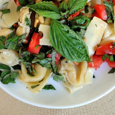 Cannellini and Macaroni Salad with Grilled Tomatoes, Basil, and Olives