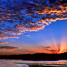 Puffs by Derrill Grabenstein - Landscapes Cloud Formations ( clouds, sunrise, puffs, rays, sun )