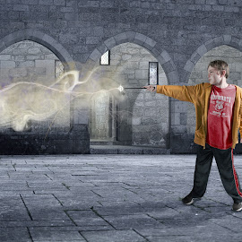 hogwarts wizzard by Justin Duff - Digital Art People ( wizzard, hogwarts, cast, magical, castle, harry potter, spell, wand )