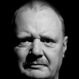 Self Portrait by Jon Horlor - People Portraits of Men ( face, old, ginger, black and white, moustache, man, portrait )