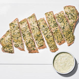 Roast Side of Salmon with Mustard, Tarragon, and Chive Sauce