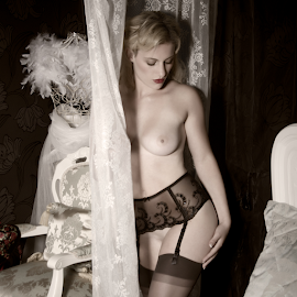 Cindy-Lee by Steve Smith - Nudes & Boudoir Artistic Nude ( stockings, chair, suspender belt, nude, bed )
