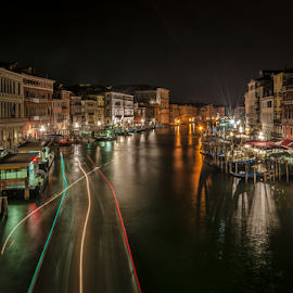 City of Love! by Jesus Giraldo - City,  Street & Park  Historic Districts ( water, lights, love, concept, nightmbeauty, colors, art, buildings, venice, homes, channel,  )