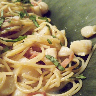 Scallops and Prosciutto over Capellini