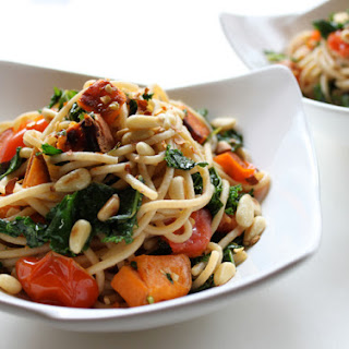 Meatless Mondays with Martha Stewart! Spaghetti with Sweet Potatoes & Garlicky Kale