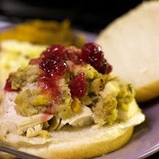 Turkey Sandwiches with Cranberry Relish, Stuffing and Gravy
