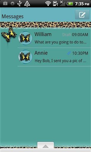 GO SMS THEME LeopardButterfly3