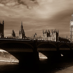 Westminster Bridge 1 Sepia by Gabriel Tocu - Black & White Buildings & Architecture ( buildings and architecture, sepia, westminster bridge, big ben, bridge, suspended structures,  )