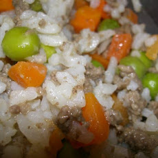 Beef, Rice, Peas and Carrots One Dish Meal