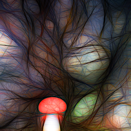 Mushroom abstract by Denny Gruner - Digital Art Abstract ( mushroom, concept, colorful, bright, illustration, fungus, drawing, backdrop, hand, nature, doodle, neon, psychedelic, light, black, abstract, sketch, icon, art, image, trippy, pen, magic, pattern, blue, background, natural, design )