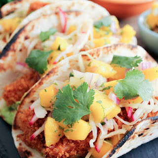 Crispy Fish Tacos with Mango Salsa and Avocado Salsa Verde