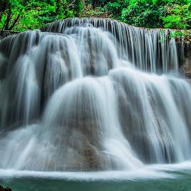 Waterfall Thailand. by John Greene - Landscapes Waterscapes ( carrigallen, beautiful, waterfall, thailand, huay mae khamin, scenic, john greene, kanchanaburi )