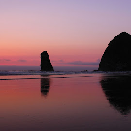 Sunset at Canon Beach by Gabriel Gutierrez - Landscapes Beaches ( nature, colorful, sunset, oregon coast, beach,  )