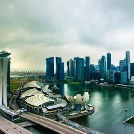 Singapore by Myint Thu - City,  Street & Park  Skylines