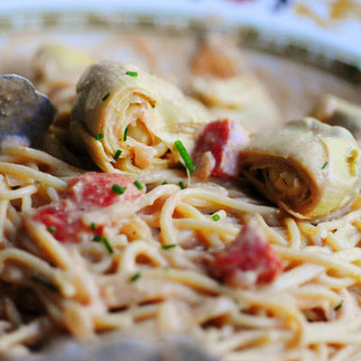 Spaghetti with Artichoke Hearts and Tomatoes