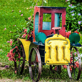 Colorful truck by Jon Cody - Artistic Objects Toys ( metal, colorful, toy truck, object, flowers )