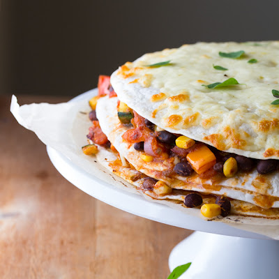 BLACK BEAN & GARDEN VEGETABLE TORTILLA STACKS