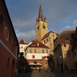 Sibiu - old town by Mihaela Ciulea - City,  Street & Park  Historic Districts ( houses, church, clock tower, roofs, street, old town, medieval, city )