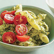 Almond-Herb Pesto Pasta with Artichoke and Tomato