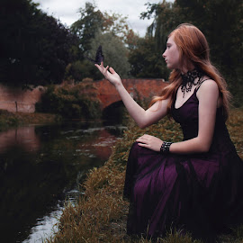 Clemency by Stephanie Rogers - People Fine Art ( fantasy, butterfly, magic, ginger, dark, redhead, bridge, conceptual, portrait, photography,  )
