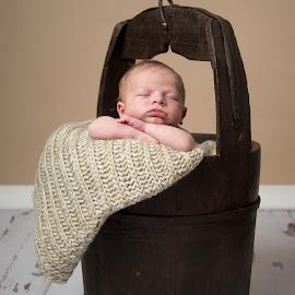 In a bucket by Michelle Bean - Babies & Children Babies ( baby, new baby, baby boy, newborn, portrait )