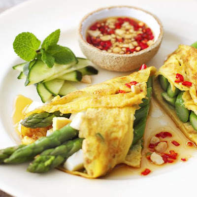 Asparagus Coconut Crêpes With Sweet Chilli Sauce