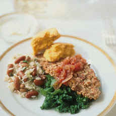 Pecan-Crusted Catfish with Wilted Greens and Tomato Chutney