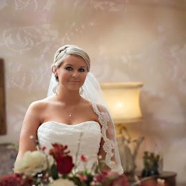 Looking thru a mirror by Carole Brown - Wedding Bride ( looking thru a mirror, blonde hair, veil, flowers, bride )