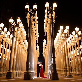 King And Queen Of The Urban Night by Yansen Setiawan - Wedding Bride & Groom ( creative, art, losangeles, illusion, lights, urban lights, love, fineart, yansensetiawanphotography, prewedding, wedding, d800, lifestyle, photographer, la, yansensetiawan, nikon, lacma, yansen, engagement, vertical lines, pwc )