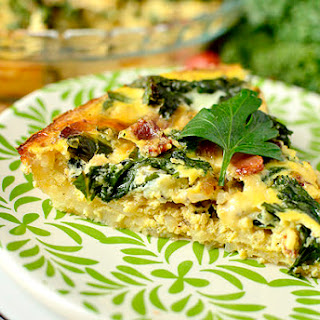 Kale & Bacon Quiche with Hash Brown Crust